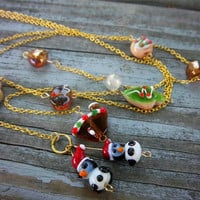 Christmas Cookie Glass Charm Gold Chain Lariat Necklace Christmas in July