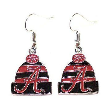 NCAA Licensed Beanie Knit Hat Dangle Earrings (Alabama Crimson Tide)