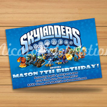 Dark Blue Skylanders Design Invitation - Digital File