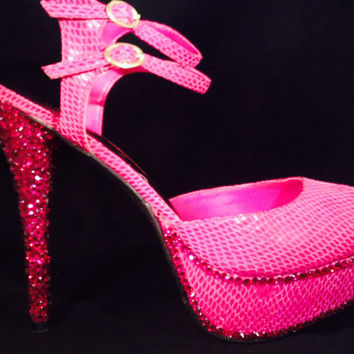 Pink high heels with bling! Pink high heels, bling high heels, fuchsia high heels,