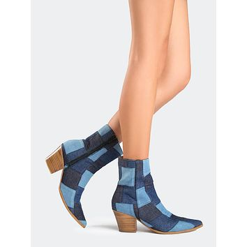 Denim Patchwork Bootie