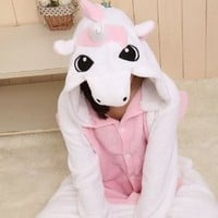 WOWcosplay Kigurumi Animal Sleepsuit Pajamas Costume Cosplay Unicorn Onesuit Pink Size S