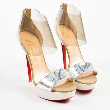 DCCK2 Christian Louboutin Cream and Silver Suede and Python   Dufoura 140   Sandals