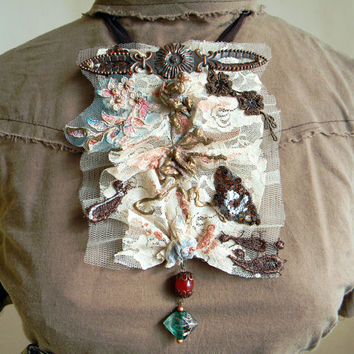 Laced jabot body jewelry statement necklace victorian jabot collar layers vintage inspired couture jewelry copper brown nude textile jewelry