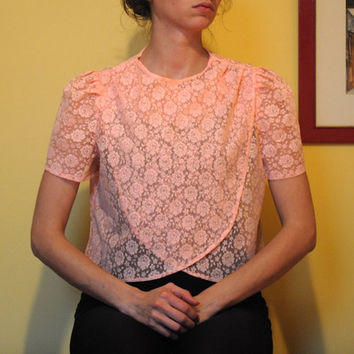 Vintage Lace Floral Shirt Women 90s 1990s Crop Top Peach Blouse