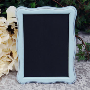 Cottage chic chalkboard: Pale vintage baby blue 5x7 decorative hand-painted wooden tabletop framed message board sign