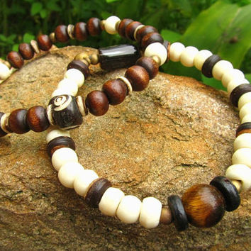 Mala Style Tigers Eye, Yak Bone, Brass & Wooden Beaded Bracelets / Stretchy Hippie Surfer Meditation Yoga Chakra Bracelete