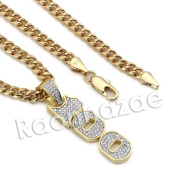 Lab diamond Micro Pave 100 Sign Pendant w/ Miami Cuban Chain BR080