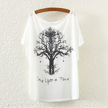 White Love Tree Print T-Shirt