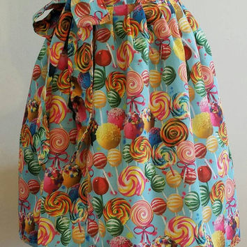 High - waist - pinup - rockabilly - punk - kitschy - lollipop - candy - fun - print - wrap -  around - plus -  skirt