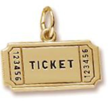 Movie Ticket Charm in Yellow Gold Plated