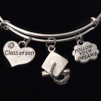 Class of 2017 Graduation Diploma Expandable Silver Charm Bracelet Adjustable Bangle