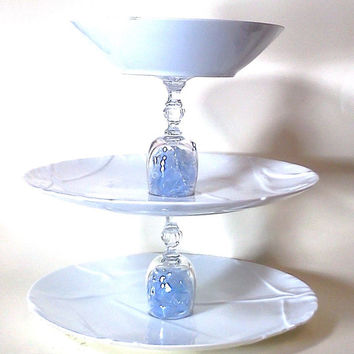 Blue and White, Shattered Glass, Tiered Jewelry Stand, Jewelry Holder, Tiered Cake Stand, Tiered Cupcake Staned, Glass Display