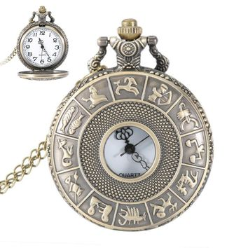Vintage Steampunk Constellation Zodiac Pocket Watch Dial 4.7cm Pendant Necklace Chain Clock Romantic Gift For Husband  LL@17