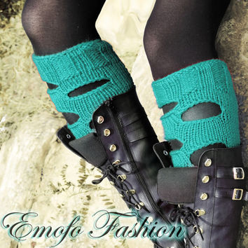 Womens Leg warmers Mint, Handmade Perforated Knit Boot Sock, Cuffs, Knitting Boot Topper, punk leg warmers, Wholesale available, boho socks