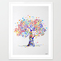 Tree Nature Love Watercolor Art Print,Wall Art Poster,Boy/Girl Room Decor Art,Nursery Art Print,Mother's day/Birthday/Wedding Gift,No 32