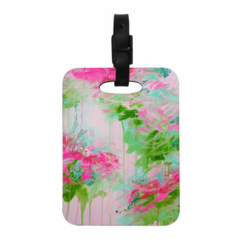 "Ebi Emporium ""Whispered Song 2"" Pink Green Teal Decorative Luggage Tag"