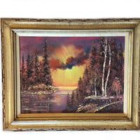 "Original Signed Framed Mid Century Oil Painting ""Golden Sunset"" FREE Shipping"