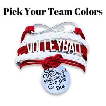 Volleyball She Believed She Could  Bracelet - Pick Your Team Colors