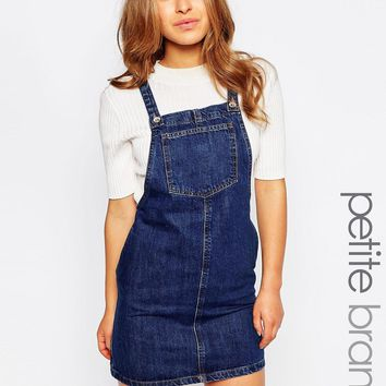 New Look Petite Denim Pinny at asos.com