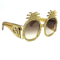 Gucci Pineapple Fashion Sunglasses GG0150S Gold Frame with Gradient Lenses