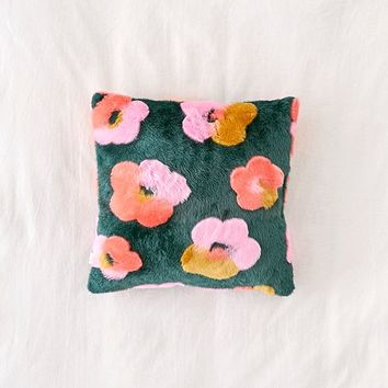 Penny Floral Faux Fur Throw Pillow | Urban Outfitters