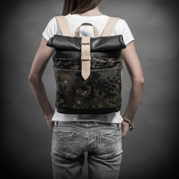 Sale 20% Canvas and leather backpack made of German army camouflage half shelter poncho Roll top backpack by Kruk Garage
