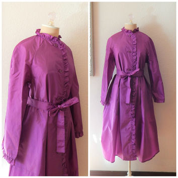 Womens Vintage 80s Totes Purple Ruffle Windbreaker Trench Coat Size 6