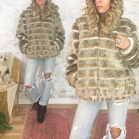 Vintage 1980's GLAM Chubby Faux Fur Hooded Vegan Bomber Coat || Cafe Latte Mocha Brown || Animal Friendly || Size Medium Large