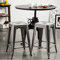 Simply Stainless 24 inch Gloss Bar Stools - Set of 2