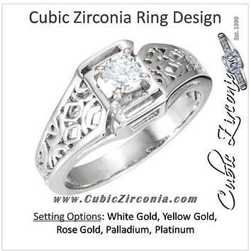 Cubic Zirconia Engagement Ring- The Tia (0.25 CT Round Cathedral-Set Solitaire with Wide Geometric-inspired Band)