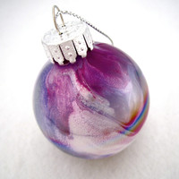 Iridescent Glass Ornament Hand Painted Inside by creationsbyjdb