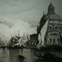 Fine Art Etching - Venice  - Auguste Numans (1823-) - 1875 on hand-laid paper uncut, original, superb and rare.