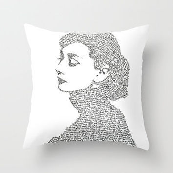 Audrey Hepburn Throw Pillow by S. L. Hurd