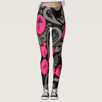 Hot Pink Black Striped Women's Leggings