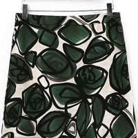 Green Floral Zip Up Mini Skirt