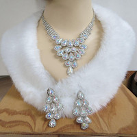 Aurora Borealis Rhinestone Bib Necklace and Long Earrings Set Vintage Bridal Wedding Jewelry