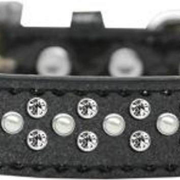 Sprinkles Ice Cream Dog Collar Pearl and Clear Crystals Size 12 Black