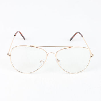 Wire Aviator Clear Lens Glasses