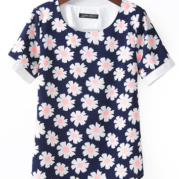 Blue Sunflower Print Chiffon Short Sleeve Top