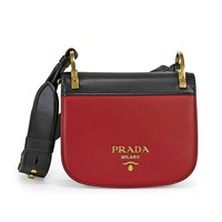 Prada Women's 'Pionniere' Bi-Color Embellished Metal Stud Strap Bag Red + Black
