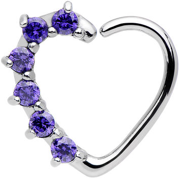 16 Gauge Purple CZ Heart Right Closure Daith Cartilage Tragus Earring
