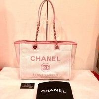 CHANEL Deauville MM Tote Chain Shoulder Bag Canvas Pink Women A67001 Auth New