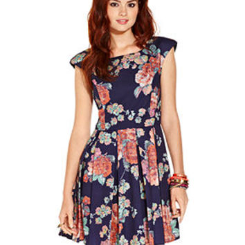 American Rag Juniors Dress, Cap Sleeve Floral-Print Pleated Cutout - Dresses - Women - Macy's
