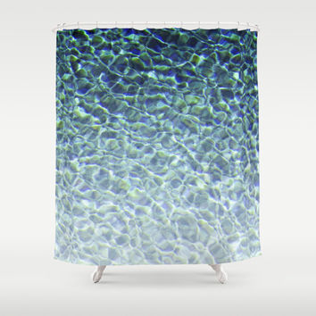 Pool Water 3 - Shower Curtain, Crystal Blue Ombre Style Bath Decor, Boho Chic Beach Surf Vanity Bathroom Hanging Tub Accent. In 71x74 Inches