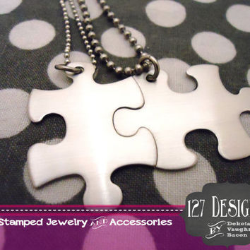 Non-Customizable Stainless Steel Puzzle Piece Necklace Set -  Ships in 1 business day