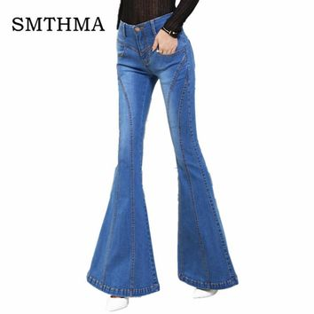 SMTHMA High quality women high waist jeans women's Flare Pants jeans blue mom jeans