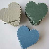 30PCS - Scrapbooking, Jewelry Design, Collage, Cardmaking and Crafting - 3cm - Hearts - Latte, Green and Blue Sampler Pack