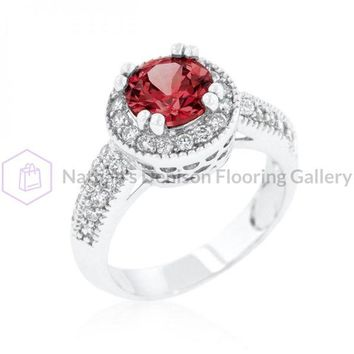 Garnet Halo Engagement Ring (size: 05) R08226R-C13-05