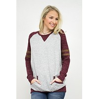 Color Block Brushed Pocket Top